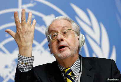 Paulo Pinheiro, Chairperson of the Commission of Inquiry on Syria, attends a news conference at the United Nations office in Geneva, Switzerland Sept. 6, 2017.