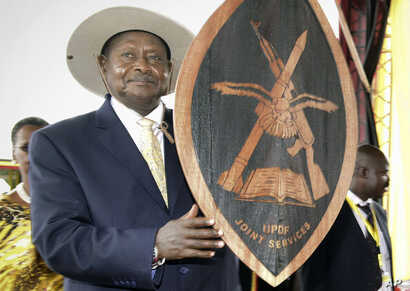 Uganda's longtime President Yoweri Museveni attends his inauguration ceremony in the capital Kampala, May 12, 2017.