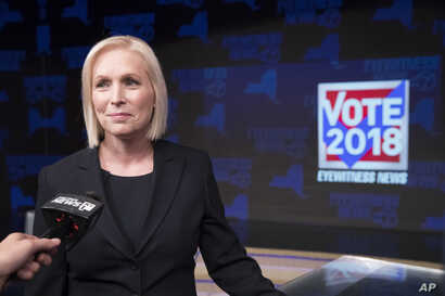 Sen. Kirsten Gillibrand, D-N.Y., speaks to reporters after the New York State Senate debate hosted by WABC-TV, Oct. 25, 2018 in New York.