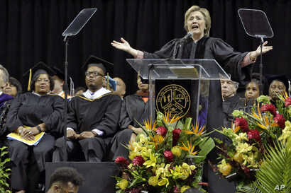 Hillary Clinton delivers the commencement address to Medgar Evers College graduates at Barclay's Center, in Brooklyn, New York, June 8, 2017.
