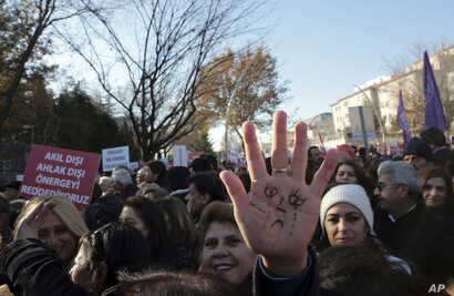 Thousands of members of Turkey's main opposition Republican People's Party march to the parliament in Ankara, Turkey,  Nov. 22, 2016.