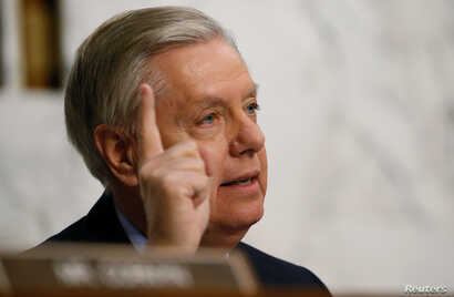 Senator Lindsey Graham, R-S.C., makes a point as he questions U.S. Supreme Court nominee Neil Gorsuch during Senate Judiciary Committee confirmation hearings on Capitol Hill in Washington, March 22, 2017.