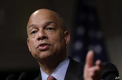 Homeland Security Secretary Jeh Johnson addresses an audience during a forum at John F. Kennedy School of Government on the campus of Harvard University, in Cambridge, Massachusetts, March 21, 2016.