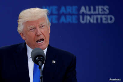 FILE - U.S. President Donald Trump attends a NATO summit at the NATO headquarters in Brussels, Belgium, May 25, 2017.