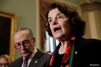 Senate Judiciary Committee ranking member Dianne Feinstein, D-Calif., and Senate Minority Leader Chuck Schumer, D-N.Y., speak to reporters about the FBI's investigation of sexual assault allegations surrounding U.S. Supreme Court nominee Brett Kavana...