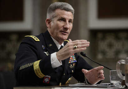 Gen. John Nicholson, the top U.S. commander in Afghanistan, testifies on Capitol Hill in Washington, Feb. 9, 2017, before the Senate Armed Services Senate Committee.
