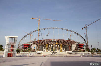 A view of the construction work at the Khalifa International Stadium in Doha, Qatar, March 26, 2016.