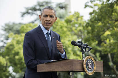 U.S. President Barack Obama speaks about new sanctions imposed on Russia in Washington, DC, July 29, 2014.