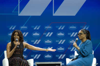First lady Michelle Obama and Oprah Winfrey have a discussion on Trailblazing the Path for the Next Generation of Women during the White House Summit on the United State of Women in Washington, June 14, 2016.