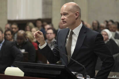 Prosecutor Joe McMahon speaks during former Chicago police Officer Jason Van Dyke's sentencing hearing at the Leighton Criminal Court Building, Jan. 18, 2019, in Chicago, for the 2014 shooting of Laquan McDonald.