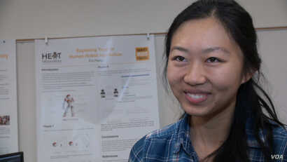 Jane Wu, a junior at Harvey Mudd College majoring in computer science and mathematics, writes computer code for autonomous robots.