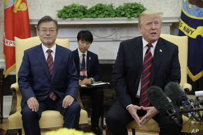 President Donald Trump meets with South Korean President Moon Jae-in in the Oval Office of the White House, May 22, 2018, in Washington.