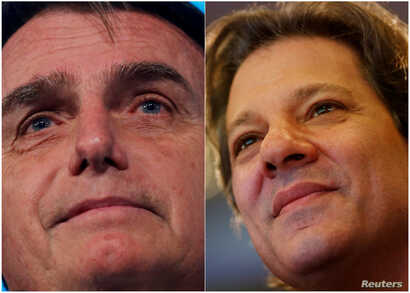FILE - A combination of file photos shows presidential candidates Jair Bolsonaro (L) and Fernando Haddad.