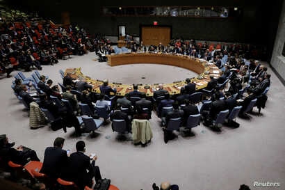 Members of the U.N. Security Council meet to discuss a North Korean missile launch at U.N. headquarters in New York, Nov. 29, 2017.