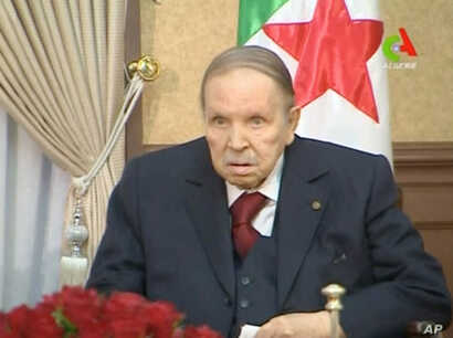 Algeria's President Abdelaziz Bouteflika looks on during a meeting in Algiers, Algeria, in this handout still image taken from a TV footage released March 11, 2019.
