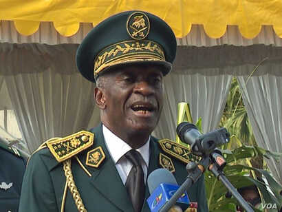 Defense Chief of Staff Lieutenant-General Rene Claude Meka speaks at the Defense headquarters in Yaounde, Cameroon, Jan. 21 2019.