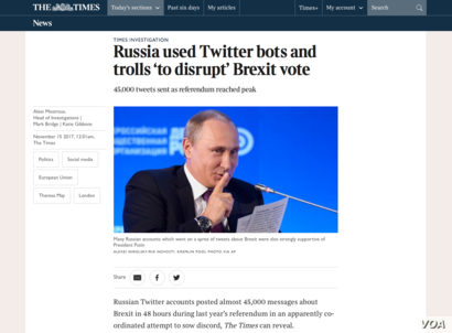 "TheTimes British newspaper article ""Russia used Twitter bots and trolls 'to disrupt' Brexit vote"""