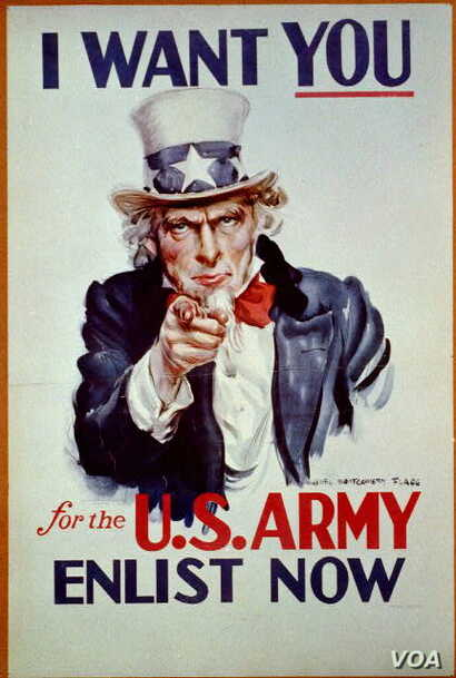 "Uncle Sam Poster ""I want you for U.S. Army: nearest recruiting station"" (Artist: James Montgomery Flagg, Publishedc1917)"