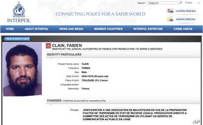 ILE - This Sept. 22, 2016, screen grab from the Interpol wanted persons web page shows a red notice for Fabien Clain.