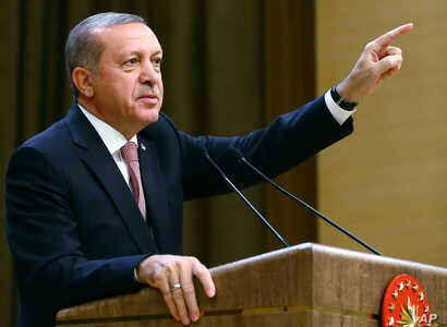 Turkish President Recep Tayyip Erdogan speaks during an event for foreign investors in Ankara, Aug. 2, 2016. He again blasted unnamed Western countries that he says supported an attempted coup on July 15.