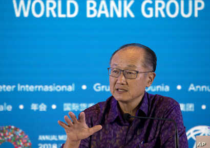 World Bank President Jim Yong Kim speaks during a press conference ahead of the annual meetings of the IMF and World Bank in Bali, Indonesia, Oct. 11, 2018.