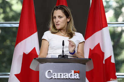 FILE - Canadian Foreign Minister Chrystia Freeland takes part in a news conference at the Embassy of Canada in Washington, U.S., Aug. 31, 2018.