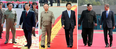 FILE - This combo shows a file photo, left, taken June 13, 2000, of North Korea's leader Kim Jong Il, left, welcoming South Korea's President Kim Dae-jung, right, at SoonAn airport in Pyongyang; a file photo, center, taken Oct. 2, 2007, of South Kore...
