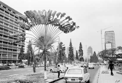 Street scene in downtown Kinshasa, Zaire, is photographed prior the the Muhammad Ali vs. George Foreman title bout scheduled in 1974.