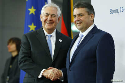The press traveled with Rex Tillerson when the U.S. Secretary of State meet with German Foreign Minister Sigmar Gabriel, right,  prior to the G-20 Foreign Ministers meeting in Bonn, Germany, Feb, 16, 2017.