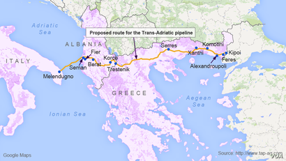 Proposed route for the Trans-Adriatic pipeline