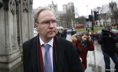 Ivan Rogers, Britain's former Permanent Representative of the United Kingdom to the European Union, leaves the The Houses of Parliament after giving evidence to a parliamentary sub-committee, in London, Britain Feb. 1, 2017.
