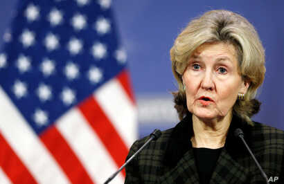 U.S. ambassador to NATO Kay Bailey Hutchison briefs the media ahead of a NATO defence ministers meeting at the Alliance headquarters in Brussels, Belgium Feb. 13, 2018.