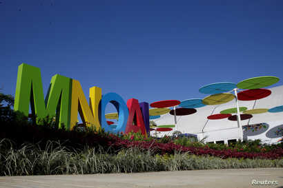 The logo of the 17th Non-Aligned Summit is seen at the entrance of the Venetur Hotel Convention Center in Porlamar, Venezuela, Sept. 15, 2016.