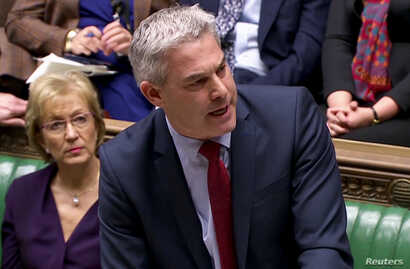 Britain's Secretary of State for Exiting the European Union Stephen Barclay speaks after the results of the vote on Brexit options in Parliament in London, March 27, 2019, in this screen grab taken from video.