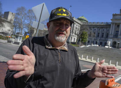 """Activist Eric Epstein, speaking during an interview with AFP in Harrisburg, Pa., March 26, 2019, brushes aside the arguments for keeping Three Mile Island open: """"It's an aging plant. It's time to shut it down."""""""