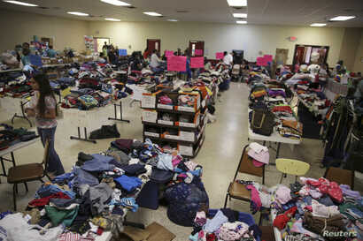 A general view shows the Sacred Heart Catholic Church temporary migrant shelter in McAllen, Texas, June 27, 2014.