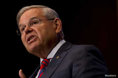 U.S. Senator Bob Menendez (D-NJ) speaks at Seton Hall University in South Orange, New Jersey, Aug. 18, 2015.