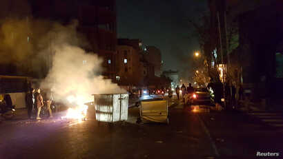 People protest in Tehran, Iran, Dec. 30, 2017, in this picture obtained from social media.