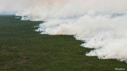 The West Mims fire burns in the Okefenokee National Wildlife Refuge in a photo released in Folkston, Georgia, April 29, 2017.