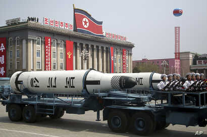 A submarine-launched ballistic missile is displayed in Kim Il Sung Square during a military parade, April 15, 2017, in Pyongyang, North Korea to celebrate the 105th birth anniversary of Kim Il Sung, the country's late founder and grandfather of curre...