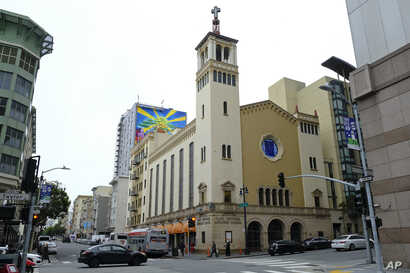 This Feb. 12, 2019 photo shows the exterior of the Glide Memorial United Methodist Church in San Francisco.