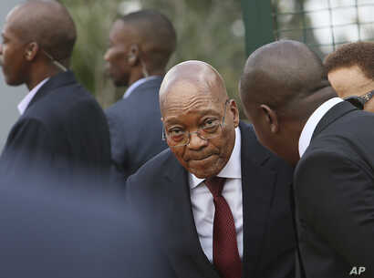 South African President Jacob Zuma attends a commemoration for anti-apartheid leader Chris Hani in Boksburg, South Africa, April 10, 2017.