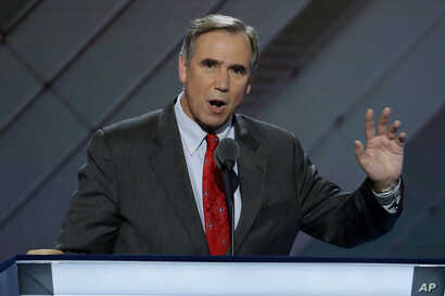 Sen. Jeff Merkley, D-Ore., speaks during the first day of the Democratic National Convention in Philadelphia, July 25, 2016.