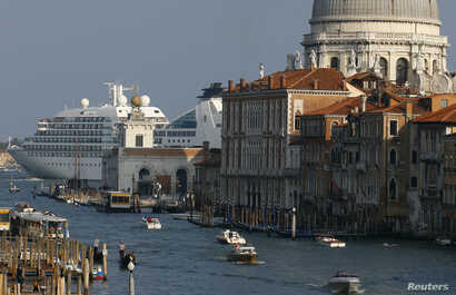 FILE - A general view of a cruise ship in Venice lagoon, Sept. 27, 2014.