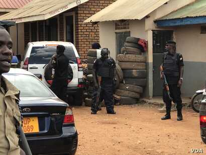 The Kasangati Police station where Robert Kyagulanyi (aka Bobi Wine) was said to have been held, in Kasangati, Uganda. (H. Athumani/VOA)