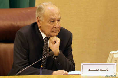 Arab League Secretary-General Ahmed Aboul Gheit attends the Arab League foreign ministers emergency meeting on US President Donald Trump's decision to recognize Jerusalem as the capital of Israel, in Cairo, Egypt, Dec. 9, 2017.