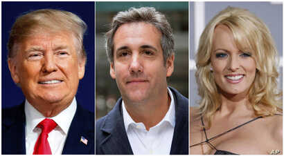 FILE - This combination photo shows, from left, President Donald Trump, attorney Michael Cohen and adult film actress Stormy Daniels.