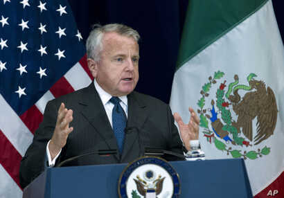 Deputy Secretary of State John J. Sullivan speaks during a news conference, after a US-Mexico bilateral meeting at State Department in Washington, Dec. 14, 2017.
