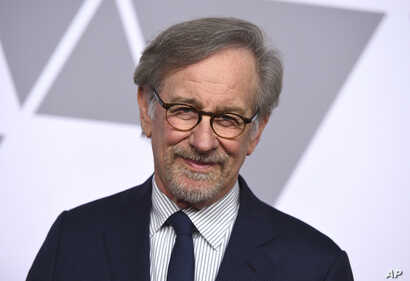 FILE - Steven Spielberg arrives at the 90th Academy Awards Nominees Luncheon at The Beverly Hilton hotel in Beverly Hills, California, Feb. 5, 2018.