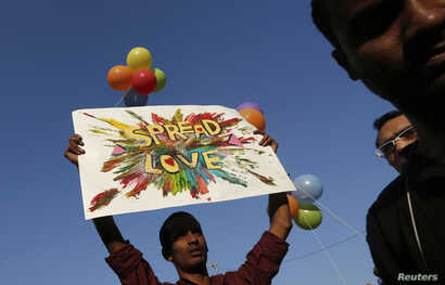FILE - A participant holds a placard during Delhi Queer Pride Parade, an event promoting gay, lesbian, bisexual and transgender rights in New Delhi, Nov. 30, 2014.